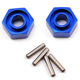 Wheel hubs, hex (blue-anodized, lightweight aluminum) (2): axle pins(4)